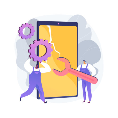Smartphone repair abstract concept vector illustration. Cell phone repair, smartphone urgent mending service, screen replacement, data recovery, electronic device fixing shop abstract metaphor.